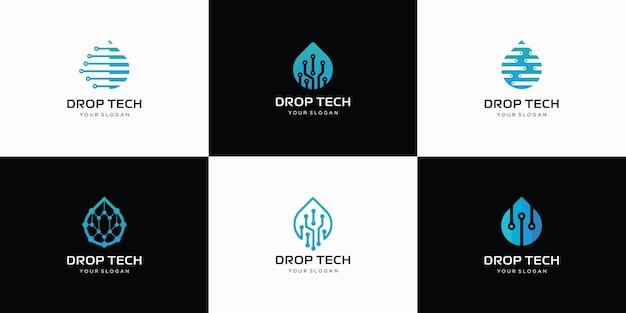 Set van watertechnologie logo-ontwerp