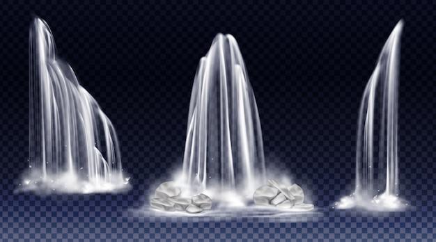 Set van watervallen met cascade, splash en mist