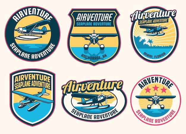 Set van watervliegtuig badge design collectie