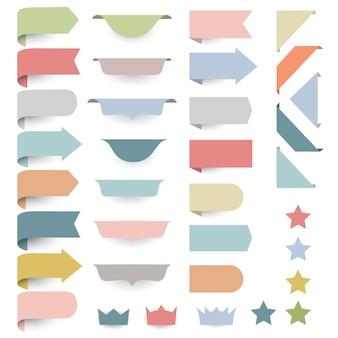 Set van web designelementen - hoeken, banners, linten, sterren, labels in pastel retro kleuren