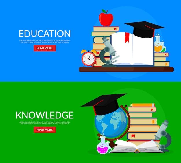 Set van webbanners voor onderwijs. boeken, globe, microscoop, reageerbuizen, academische cap.