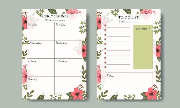 Set van weekplanner en takenlijstsjabloon met handgetekende roze bloemenillustratieachtergrond afdrukbaar