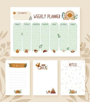 Set van weekplanner, paginanotitieblok, sjabloon voor neutrale kleuren