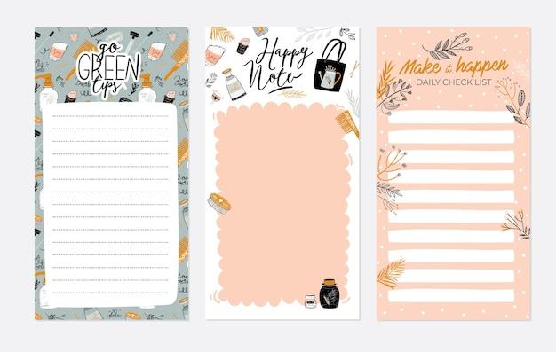 Set van weekplanners en takenlijsten met zero waste-illustraties en trendy letters.