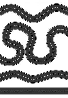 Set van wegen van verschillende ontwerp op witte achtergrond.
