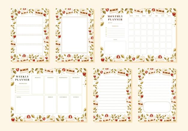 Set van wekelijkse planner, maandelijkse planner, notitie, memo, schoolplanner sjablonen met handgetekende cake, bloemen en aardbei-elementen