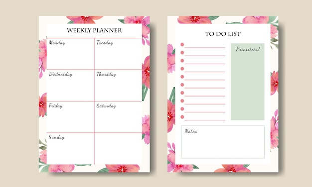 Set van wekelijkse planner takenlijst met aquarel bloemen roze boeket sjabloon afdrukbare