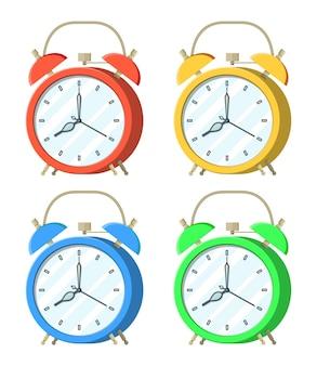 Set van wekker. controlestrategie en taken, bedrijfsprojecten die tijdbeheer plannen, deadline. tijdsbeheer. vector illustratie vlakke stijl