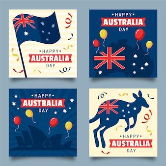Set van wenskaarten van de dag van australië