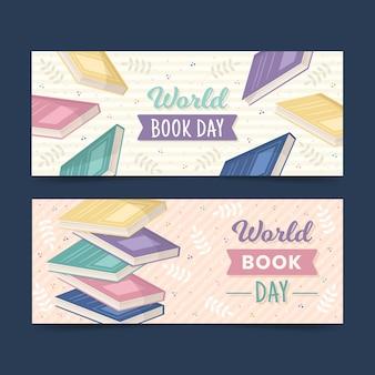 Set van wereld boek dag banners