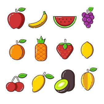 Set van wereld voedsel dag, biologisch fruit pictogrammen en elementen