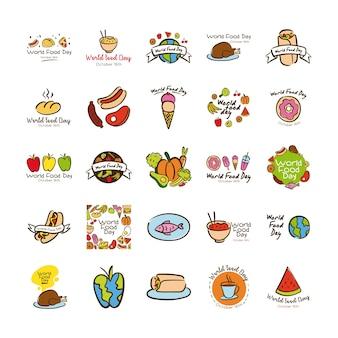 Set van wereldvoedsel dag viering beletteringen vlakke stijl vector illustratie ontwerp