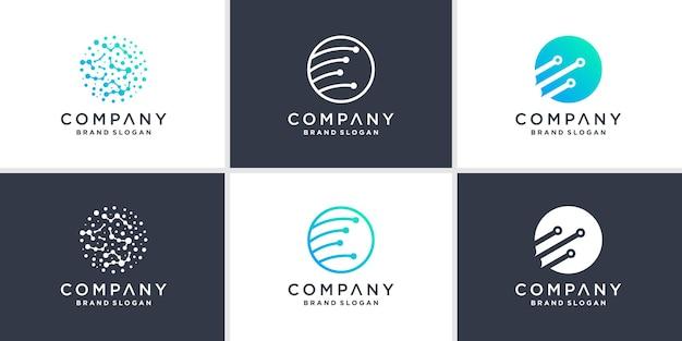 Set van wereldwijde tech logo-sjabloon met moderne stijl premium vector
