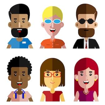 Set van werkende mensen platte avatar cartoon