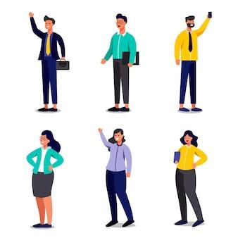 Set van werkende mensen uit het bedrijfsleven in stripfiguren met verschillende gebaar, geïsoleerde vlakke afbeelding
