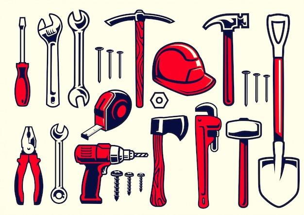 Set van werknemer handgereedschap