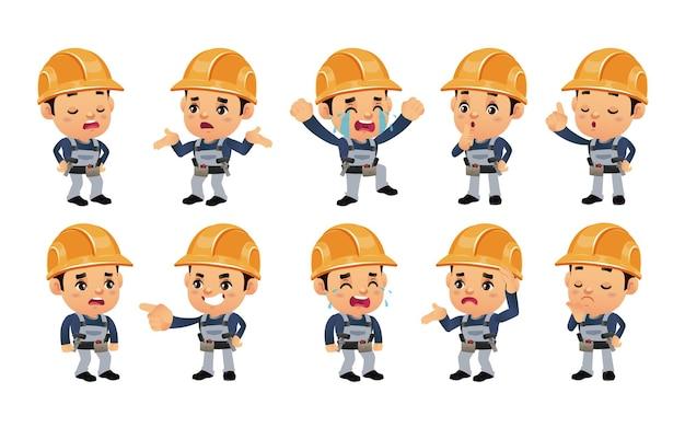 Set van werknemer met verschillende emoties