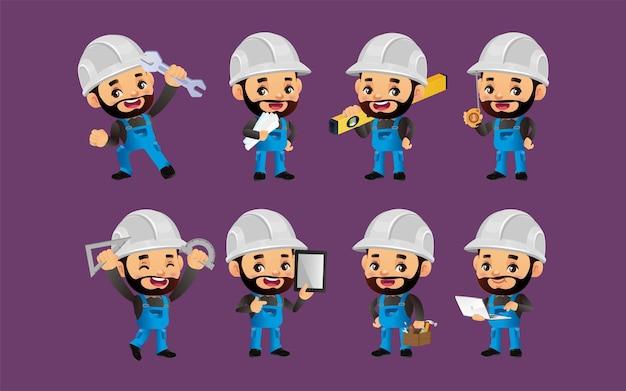Set van werknemer met verschillende poses