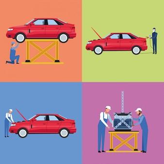Set van werknemers autofabriek