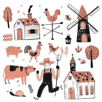 Set van werknemers in de landbouw.