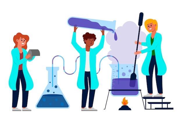 Set van wetenschappers die werken in het lab