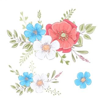 Set van wilde bloemen en vlinders. hand tekenen illustratie