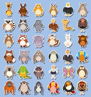 Set van wilde dieren sticker