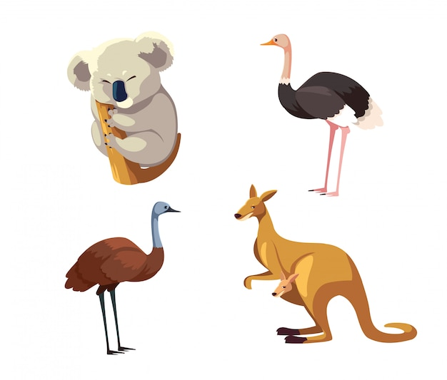 Set van wilde dieren van australië op witte achtergrond