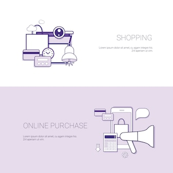 Set van winkelen online aankoop banners zakelijke concept sjabloon achtergrond met kopie ruimte