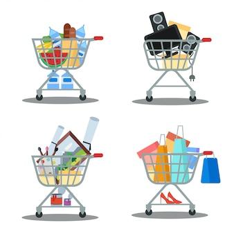 Set van winkelwagentjes met goederen. kruidenier, winkelen, verkoop