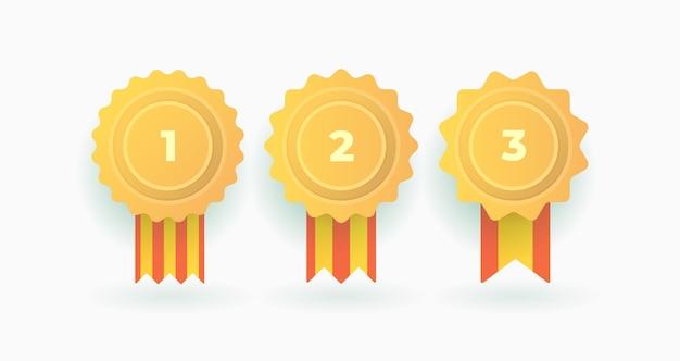 Set van winnaar badge championes