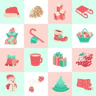 Set van winter iconen kerstmis