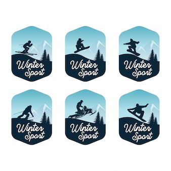 Set van wintersport badge sjabloon