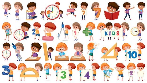 Set van wiskunde kinderen