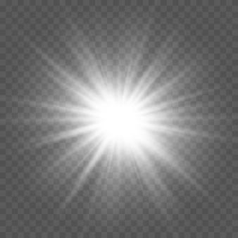 Set van wit gloeiend licht ontploft op een transparante achtergrond sprankelende magische stofdeeltjes. ster barstte van de glitters. gouden glitter bright star. transparante stralende zon, heldere flits
