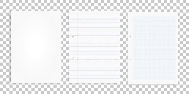 Set van wit papier bladen op transparante achtergrond.