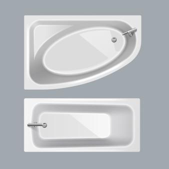Set van witte badkuipen in rechthoekige en hoekige ovale vormen op grijze achtergrond, bovenaanzicht
