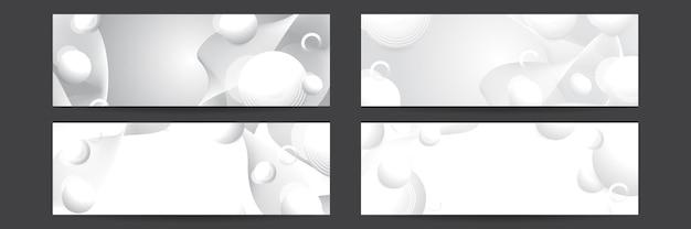 Set van witte banner achtergrond met geometrische vormen. technologiebannerontwerp met witte en grijze pijlen. abstracte geometrische vector achtergrond