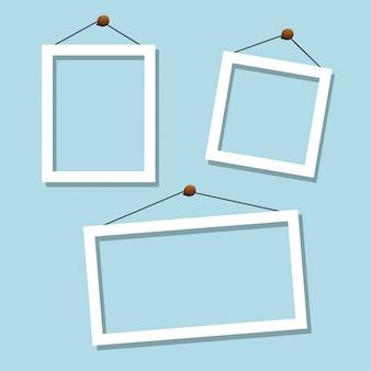 Set van witte blauwe frames
