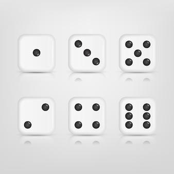 Set van witte dobbelstenen