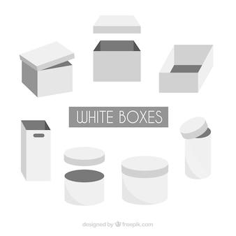 Set van witte dozen voor verzending in vlakke stijl