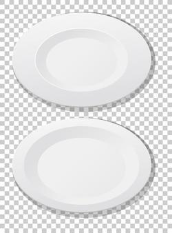 Set van witte effen plaat bovenaanzicht
