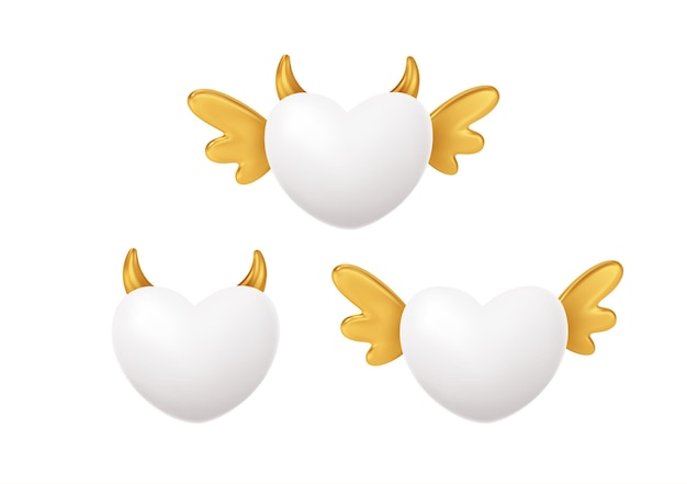 Set van witte hartvorm met gouden vleugels en hoorns. concept symbool voor happy valentines day