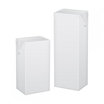 Set van witte kartonnen verpakking voor drank, sap, melk of yoghurt
