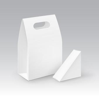 Set van witte lege kartonnen rechthoek driehoek afhaalmaaltijden handvat lunchdozen verpakking voor sandwich, voedsel.