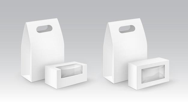 Set van witte lege kartonnen rechthoek meeneem handvat lunchboxen verpakking voor sandwich, voedsel, met kunststof ramen.