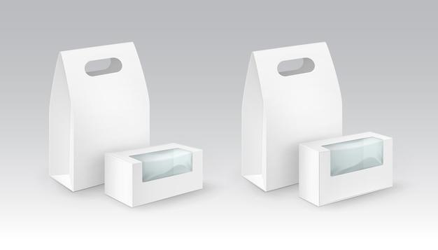 Set van witte lege kartonnen rechthoek meenemen handvat lunchboxen verpakking voor sandwich, eten, cadeau, andere producten met kunststof ramen close-up geïsoleerd op witte achtergrond