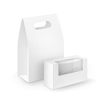 Set van witte lege kartonnen rechthoek meenemen handvat lunchboxen verpakking voor sandwich, eten, cadeau, andere producten met kunststof ramen mock up close-up geïsoleerd