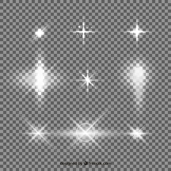 Set van witte lens flare met realistische stijl