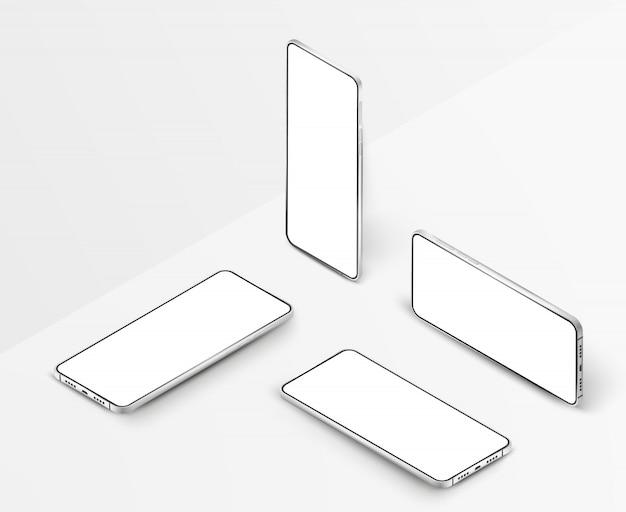 Set van witte realistische isometrische smartphones